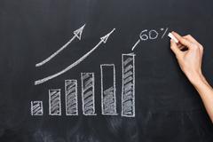 Hand drawing growth diagram on blackboard Stock Photos