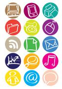 Office Equipment Round Vector Icon Set - stock illustration