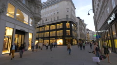 Luxury stores on Tuchlauben street in Vienna Stock Footage