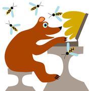 Little cute bear buy honey online - stock illustration