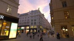 Graben seen from Tuchlauben street in Vienna in the evening Stock Footage