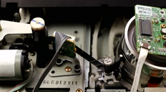 VCR VHS mechanics cassette player tapehead - stock footage