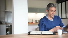 Man working from home-office with laptop computer Stock Footage