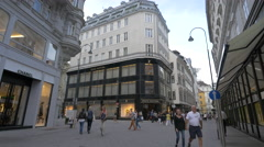 Walking by the stores on Tuchlauben street in Vienna Stock Footage