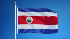Costa Rica flag in slow motion seamlessly looped with alpha Stock Footage