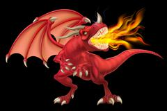 Red Dragon Breathing Fire - stock illustration