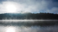 Beautiful sunrise and fog over the mystic mountain lake, video Stock Footage