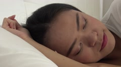 4k, Beautiful asian woman sleeping in the bed -Dan Stock Footage