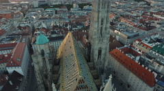 Great aerial view of Stephansdom and its surroundings, Vienna Stock Footage