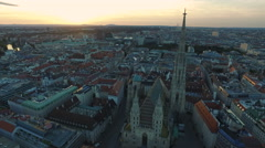 Amazing aerial view of Stephansdom and its surroundings, Vienna Stock Footage