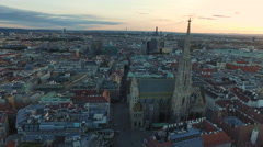 Aerial view of Stephansplatz and its surroundings at sunset, Vienna Stock Footage
