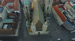 Aerial view of Stephansdom and its surroundings, Vienna Stock Footage