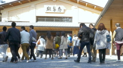 Crowd gathering at the Ise Grand Shrine Stock Footage