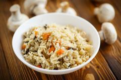 dietary pilaf with mushrooms - stock photo