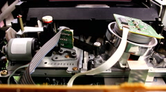 inserting videotape VCR VHS videorecorder cassette player t - stock footage