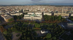 Aerial view of Volksgarten, the Parliament Building and its surroundings, Vienna Stock Footage