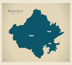Modern Map - Rajasthan IN - stock illustration