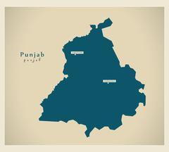 Modern Map - Punjab IN - stock illustration