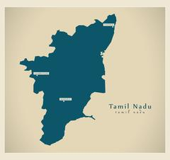 Modern Map - Tamil Nadu IN Stock Illustration