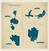 Modern Map - Puducherry IN Stock Illustration