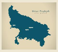 Modern Map - Uttar Pradesh IN - stock illustration