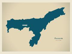 Modern Map - Assam IN Stock Illustration