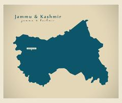 Modern Map - Jammu & Kashmir IN - stock illustration