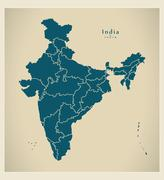 Modern Map - India with federal states IN - stock illustration