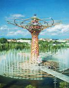 Tree of life at exhibition Expo Milano 2015, illustration with colored pencil - stock photo