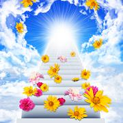 Stairs going up to heaven - stock illustration