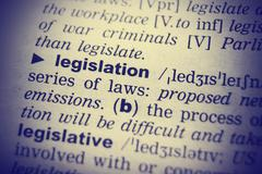 Dictionary definition of the word Legislation in English. Vignetting effect Stock Photos