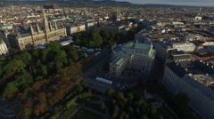 Aerial view of the Court Theatre, Rathausplatz and the City Hall in Vienna Stock Footage