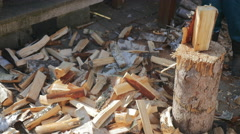 Chopping Wood on the Block - stock footage