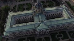 Aerial view of the museums in Maria-Theresien-Platz, Vienna Stock Footage