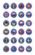 Jeton symbols of participating countries to the soccer tournament in france - stock illustration