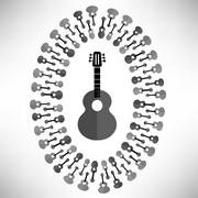 Acoustic Guitar Silhouette - stock illustration