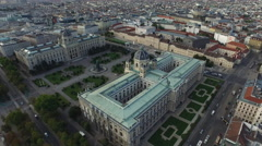 Great aerial view of the museums in Maria-Theresien-Platz, Vienna Stock Footage
