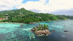 Aerial view of Anse Royale (beach) in Mahe Island, Seychelles. Stock Footage