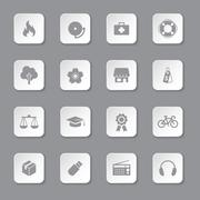 gray flat safety and miscellaneous icon set on rounded rectangle button - stock illustration