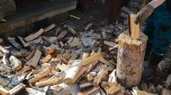 Lumberman Working Wood - stock footage