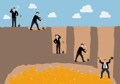 Step of businessman digging a ground to find treasure - stock illustration