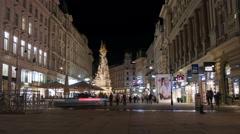 Night walk on Graben neat the Pestsäule statue, Vienna - Night Time Lapse Stock Footage