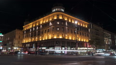 Night traffic near the Hotel Bristol in Vienna - Night Time Lapse Stock Footage
