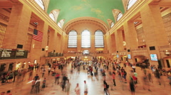 Grand Central Station interior NYC commuters people walk New York City timelapse Stock Footage