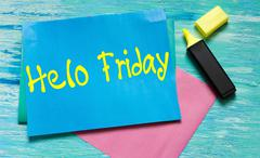 Hello Friday inspirational quotes lettering for postcards, business ideas, an - stock photo