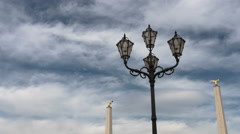 Vintage lamp post in the courtyard of Schönbrunn Palace, Vienna - Time Lapse Stock Footage