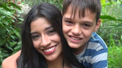 Happy Mother And Teen Son Stock Footage