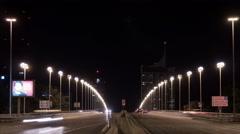 Night traffic on Reichsbrücke in Vienna - Night Time Lapse Stock Footage