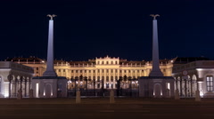 Night traffic in front of Schönbrunn Palace in Vienna - Night Time Lapse Stock Footage