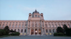 Natural History Museum in Maria-Theresien-Platz at dawn, Vienna - Time Lapse Stock Footage